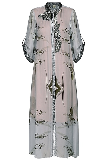 Grey Printed Long Shirt Dress by N&S Gaia
