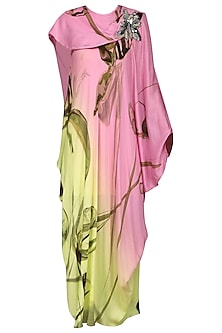 Pink and Lemon Green Draped Dress by N&S Gaia