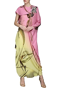 Pink and Lemon Green Draped Dress by N&S Gaia