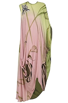 Pink Draped Printed Dress by N&S Gaia