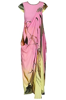 Pink and Lemon Green Ombre Draped Dress by N&S Gaia
