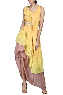 Yellow Draped Twill Dress by N&S Gaia