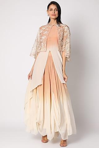 Peach & Eggnog Hand Embroidered Maxi Dress by Neeta Bhargava