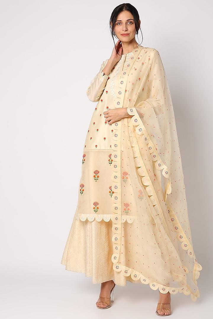 Eggnog Hand Embroidered Skirt Set by Neeta Bhargava