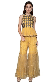 Lemon Yellow Embroidered Peplum Top With Sharara Pants by Nandita Thirani