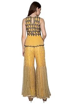Lemon Yellow Embroidered Peplum Top With Sharara Pants by Nandita Thirani