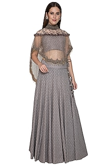 Grey Embroidered Cape Lehenga Set by Nandita Thirani