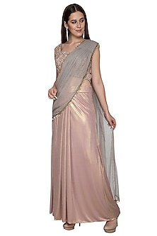 Pink & Gold Embroidered Saree Set by Nandita Thirani