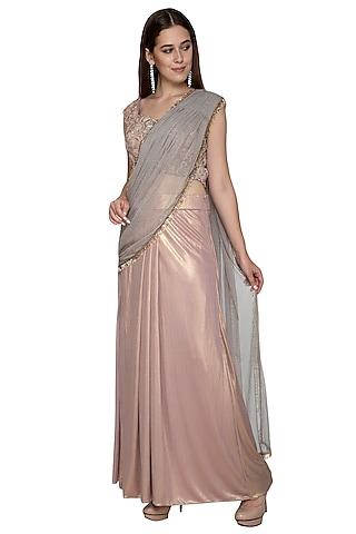 Pink & Gold Embroidered Saree Set by Nandita Thirani