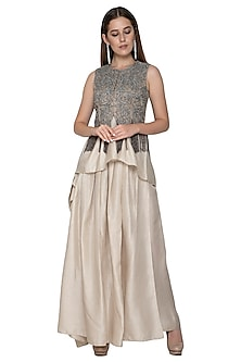 Nude Embroidered Jacket Blouse & Draped Skirt by Nandita Thirani