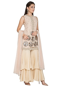 Pink Floral Embroidered Kurta Set by Nandita Thirani