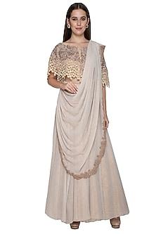 Beige Embroidered Draped Saree Set by Nandita Thirani