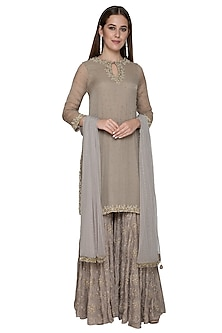 Grey Embroidered Sharara Set by Nandita Thirani
