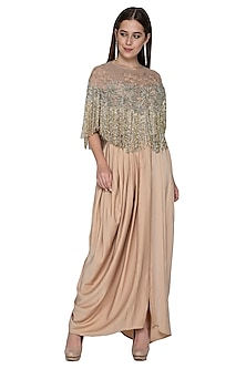 Nude Embroidered Draped Skirt With Top & Cape by Nandita Thirani