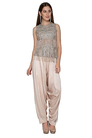 Nude Draped Pants With Embroidered Peplum Top by Nandita Thirani
