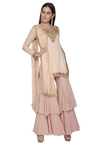 Pink Embroidered Sharara Set by Nandita Thirani