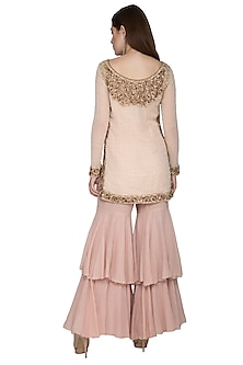 Pink Embroidered Sharara Set by Nandita Thirani