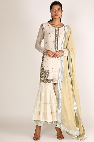 White Zardosi Embroidered Sharara Set by Nandita Thirani