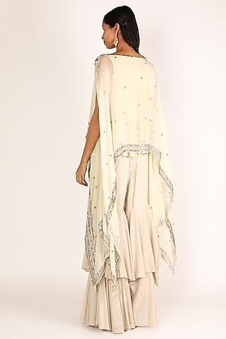 White Embroidered Sharara Set by Nandita Thirani