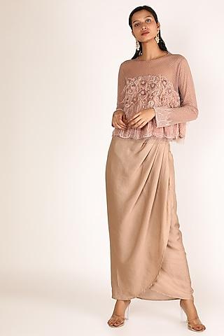 Beige Embroidered Draped Skirt Set by Nandita Thirani