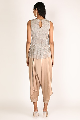 Dusty Blue & Beige Embroidered Pant Set by Nandita Thirani