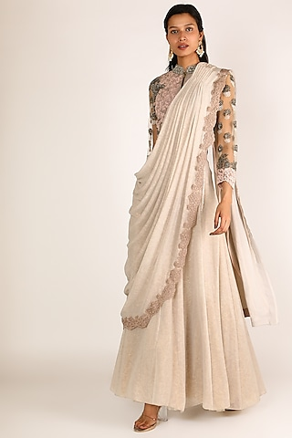 Ivory & Peach Embroidered Draped Lehenga Saree by Nandita Thirani