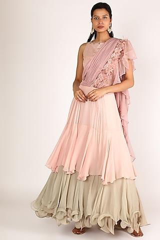 Pink & Beige Embroidered Ruffled Lehenga Set by Nandita Thirani