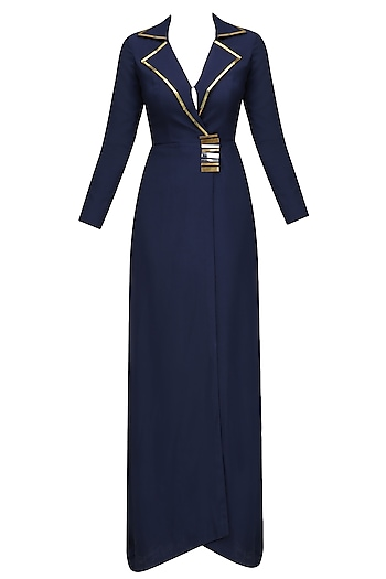 Navy Blazer Gown by Nikhil Thampi