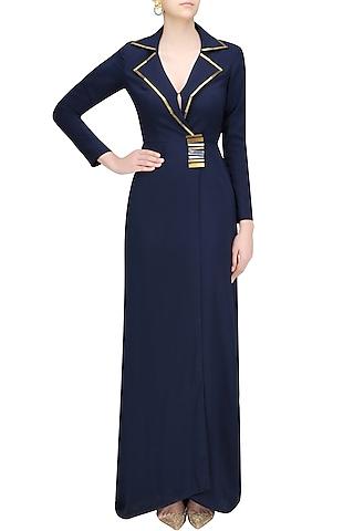 Navy Blazer Gown by Nikhil Thampi