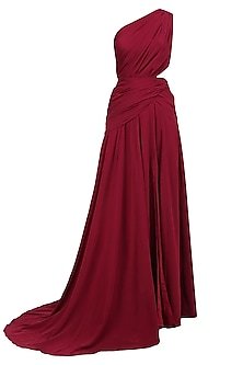 Maroon One Shoulder Cut Out Crepe Gown by Nikhil Thampi