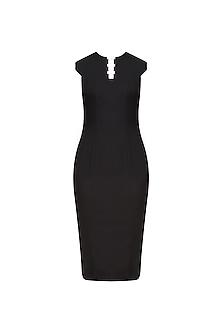 Black Side Cut Shift Dress by Nikhil Thampi