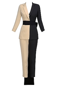 Nude And Black Blazer Set with Bow Belt by Nikhil Thampi