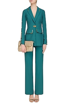 Teal Side Open Blazer Set by Nikhil Thampi