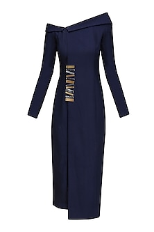 Navy Off Shoulder Blazer Shift Dress by Nikhil Thampi