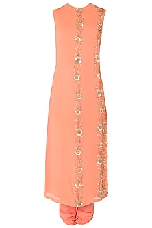 Peach Embroidered Kurta Set by Nikhil Thampi