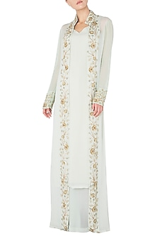 Mint Green Embroidered Jacket with Kurta and Palazzo Pants by Nikhil Thampi