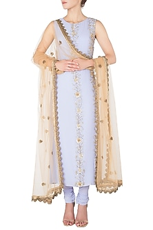 Ice Blue Embroidered Kurta Set by Nikhil Thampi