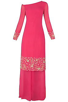 Bright Pink Embroidered Kurta with Palazzo Pants Set by Nikhil Thampi