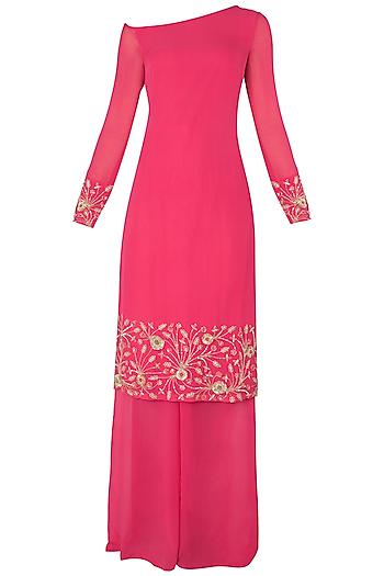 Bright Pink Embroidered Kurta with Palazzo Pants Set by Nikhil Thampi