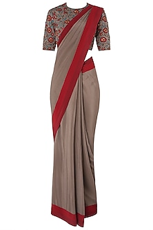 Grey Pre-Stitched Saree with Floral Embroidered Blouse by Nikhil Thampi