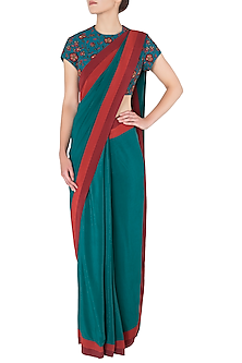 Teal Pre-Stitched Saree with Floral Embroidered Blouse by Nikhil Thampi