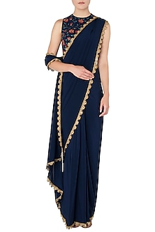 Navy Blue Pre-Stitched Saree with Floral Embroidered Blouse by Nikhil Thampi