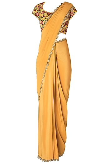 Mustard Pre-Stitched Saree with Floral Embroidered Blouse by Nikhil Thampi