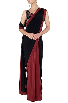 Black and Maroon Pre-Stitched Saree with Embroidered Blouse by Nikhil Thampi