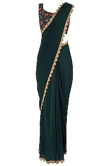 Bottle Green Pre-Stitched Saree with Embroidered Blouse by Nikhil Thampi