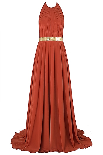 Rust Metal Chip Embroidered Gown by Nikhil Thampi