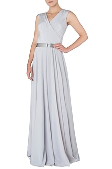 Grey Metal Chip Embroidered Gown by Nikhil Thampi