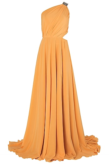Mango Metal Chip Embroidered One Shoulder Gown by Nikhil Thampi
