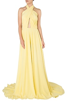 Yellow Criss-Cross Cutout Gown by Nikhil Thampi