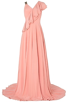 Peach Metal Chip Embroidered Frills Gown by Nikhil Thampi